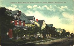 Postcard of Kittanning, Pa featuring the Bauer Family Funeral Home