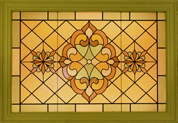 Stained glass window in shades of gold