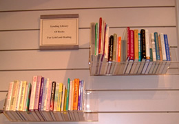 shelves of books on a wall